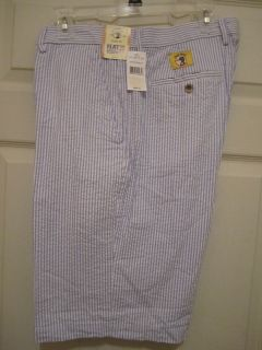 Duck Head Classic Fit Blue White Striped Seersucker Mens Shorts Size
