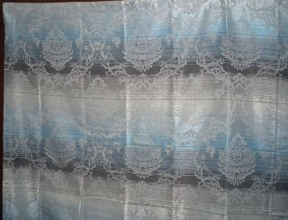 New NEPAL Luxury JACQUARD Fabric Shower Curtain Blue Brown Taupe