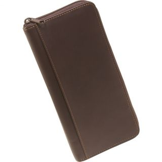 NEW DOPP LEATHER ZIP AROUND PASSPORT WALLET WITH ORGANIZER BROWN