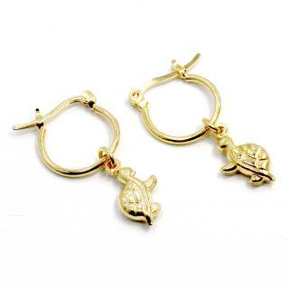 Gold 18K GF Charm Lucky Turtle 3D Earrings Small Hoop Girl Teens 10mm