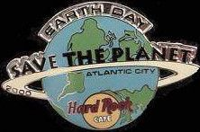 Hard Rock Cafe Atlantic City 2000 Earth Day Pin Globe STP