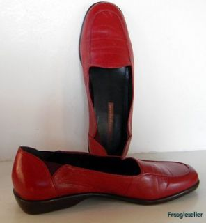 Easy Spirit Womens Lady Anne Low Heel Loafers Shoes 9 5 M Red Leather