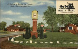 Duncannon PA Amity Hall Esso Gas Station Sign Pumps Postcard