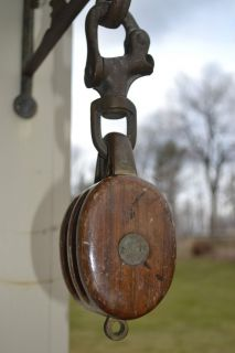 Antique Nautical wood brass Pulley Marked with trident and the letters