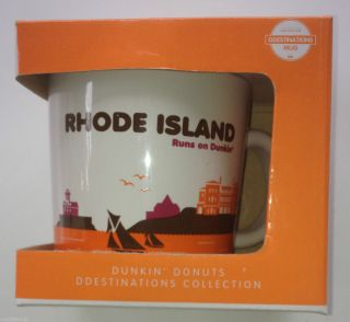 Dunkin Donuts Coffee Mug Cup Rhode Island RI Destinations 14oz Ceramic
