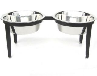 Indoor Outdoor Double Raised Dog Feeder Elevated Bowl