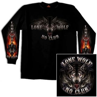 Lone Wolf No Club Long Sleeve Biker T Shirt L 3X