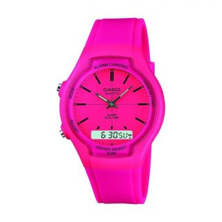 90H 4E2VEF Pink Ladies 50M WR Alarm Stopwatch Dual Time Watch