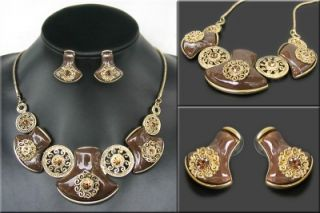 Brand Jewelry Gold Plated Beautiful Chocolate Resin Crystal Necklace