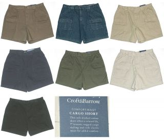 New $32 $36 Croft Barrow Mens Comfort Waist Cargo Shorts Regular or