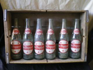 DR. PEPPER BOTTLES AND WOODEN BOX~ALL HAVE DIAMONDS AROUND THE NECK~12