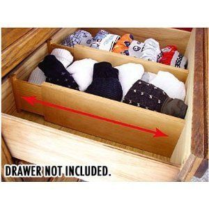 128 Natural Wood Spring Loaded Dresser Drawer Dividers Set of 2