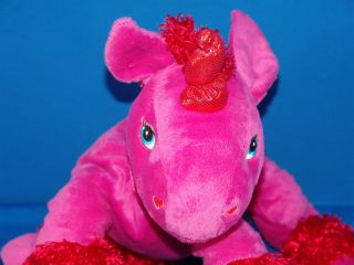 big plush red pink valentine unicorn love you horse nucite