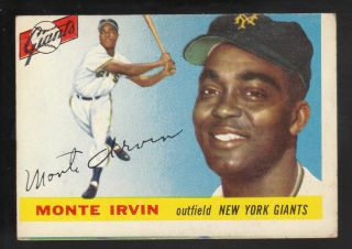 1955 Topps 100 Monte Irvin New York Giants Card BV $40