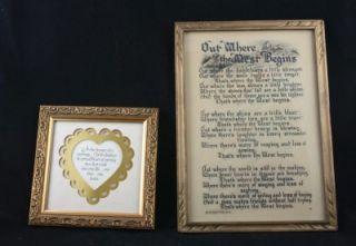 Antique John Drescher Co NY Framed Poem Print C 1900 and Used Framed