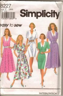 Simplicity 8227 Pattern Easy Front Button Dress Misses Size 18 20 22