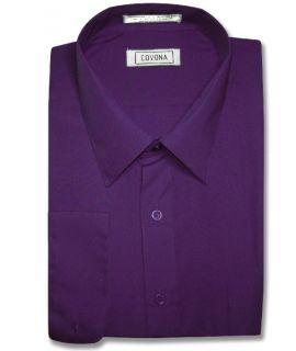 Men Purple Indigo Dress Shirt Cnvrtbl Cuff 14 1 2 32 33