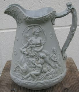 Edward Walley Walea Pottery Parian Pitcher with Diana The Huntress