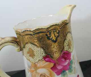 Stunning Antique Early Nippon Hand Painted Moriage Water or Tea