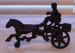 Vintage Cast Iron Horse Drawn Cart with Driver Toy
