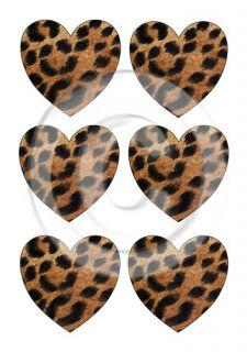Leopard Print Hearts x 6 Edible Rice Paper Cake Topper