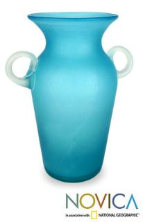 Aquamarine Large Blue Hand Blown Art Glass Vase Novica Mexico Unique