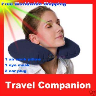 Travel Neck Air Cushion Pillow Eye Mask 2 Ear Plug