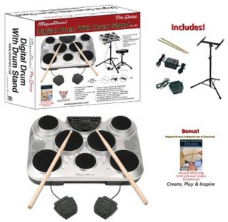 New Electronic Digital Drum Set Seven Pad with Stand Two Foot Pedals