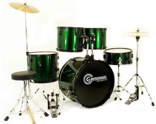 New Green Complete Full Size 5 Piece Drum Set with DVD