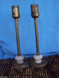 Antique Bronzed Cast Iron Table Candle Lamps w Pink Stone Quartz