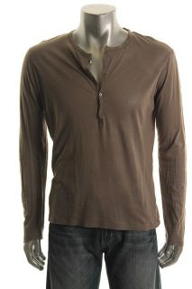 Earnest Sewn New Gray Sheer Cotton Long Sleeves Four Button Henley