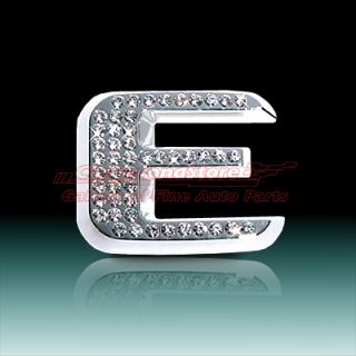 Crystal Letter E Chrome 3D Car Emblem, , High Quality