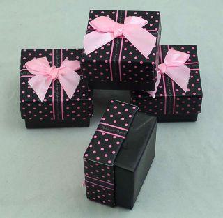 12ps 5 X 5 X 3cm Black pink dot cuboid gift box ring /earrings paper