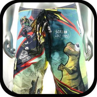 Minute Mirth Shorts Trunks Board Tattoo Surf K6 Sz 36 Indie Graffiti