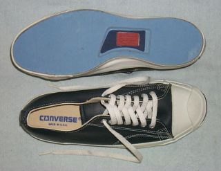Converse Sneakers, Jack Purcell, Blue Leather, Vintage, Made in USA, 8