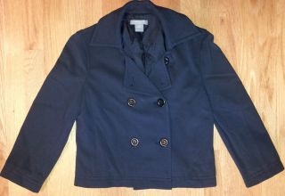 Ann Taylor Petites SZ 2P Cute Navy Blue Double Breasted Cropped Blazer