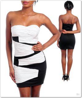 New Sexy Cocktail White Black Strapless Mini Dress
