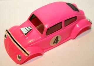 Vintage Eldon Pink 1971 VW Volkswagen Beetle Bug Slot Car 1 32