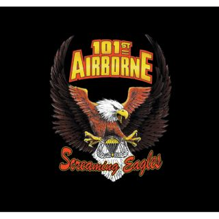 Black Army 101st Airborne Screaming Eagles Wings Imprinted 1 Sided T