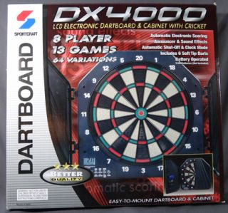 DX4000 Sportcraft LCD Electronic Dart Board & Cabinet with Cricket_New