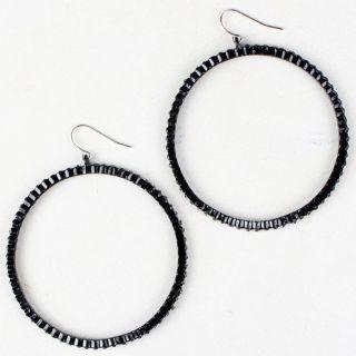 Fashion Black Big Metal Circle Round Design Statement Earrings