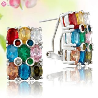 Oval Cut Multi Colored Rhinestone White Plated Stud Earrings