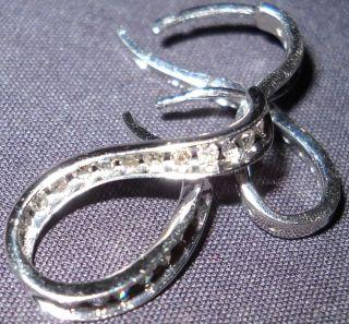 42 Diamonds 1/2 Carat & 14k White Gold Journey Earring 1.9 DWT Genuine