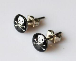Earrings for Men Studs Stainless Steel Horror Logo Studs Earrings