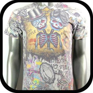 Minute Mirth T Shirt Graffiti Tattoo Vtg Rock N9 Sz M L Skate Board