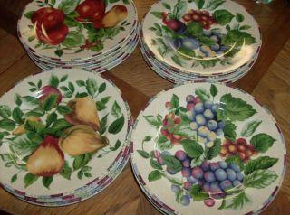 Oneida Sakura Sonoma Fruit Design Stoneware 4 Salad Plates