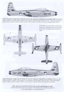 Dutch Profile Decals 1 48 F 84 Thunderjet Royal Netherlands Air Force