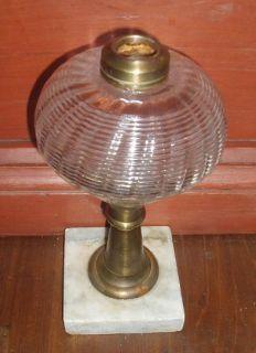 Antique Sandwich Blown Glass Fluid Lamp Whale Oil Early Lighting Brass