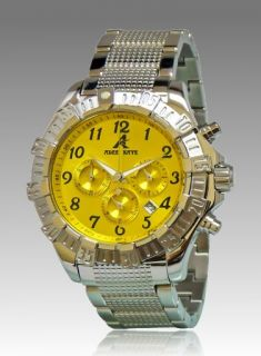 New Adee Kaye Mens Chronograph Yellow Dial Stainless Steel Watch