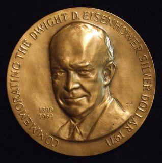 (IKE) 2 1/2 MACO High Relief Bronze Silver Dollar Medal w/Box & COA